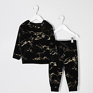 Zwarte velours outfit met goud marmeren print hoodie