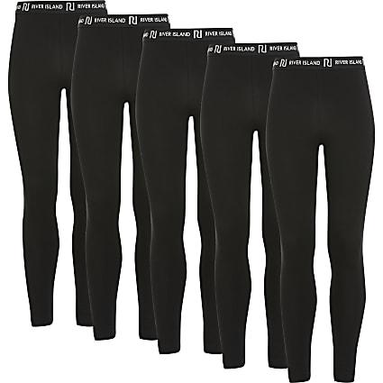 Girls black RI leggings 5 pack