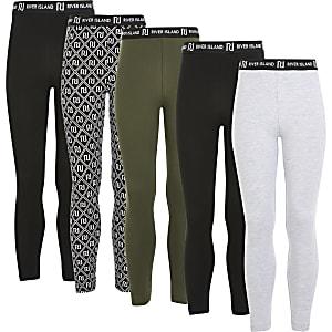 Lot de5 leggings noirs impriméRI pour fille
