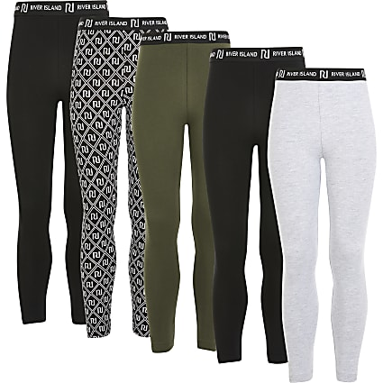 Girls black RI printed leggings 5 pack