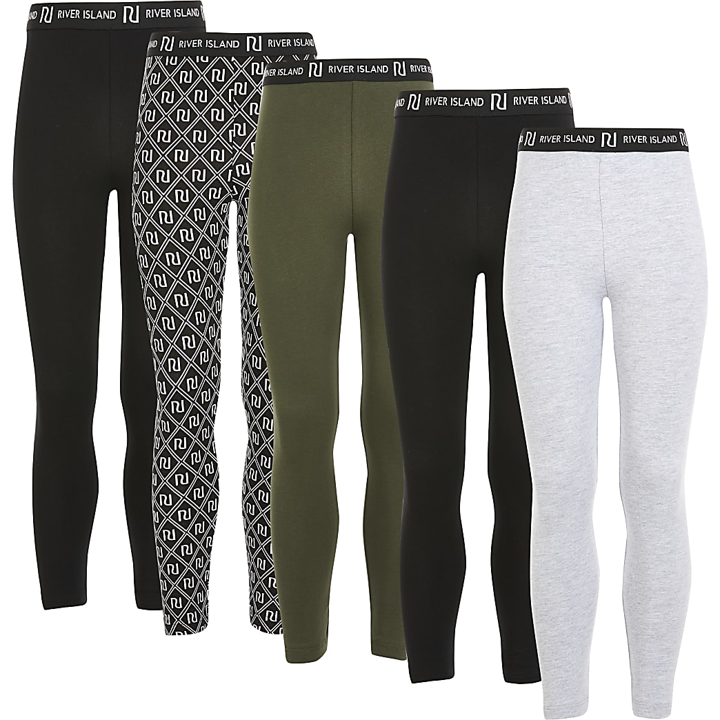 Girls black RI printed leggings 5 pack