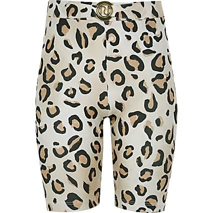 Girls beige leopard print cycling shorts