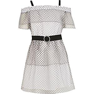 Weißes, gepunktetes Bardot-Kleid für Mädchen