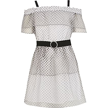 Girls white polka dot ruffle bardot dress