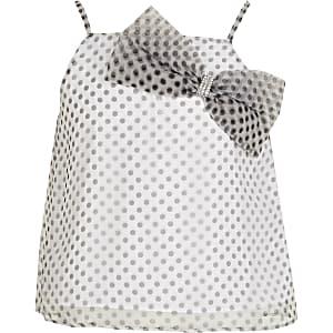 Witteorganza top met stippen en strikje voor meisjes