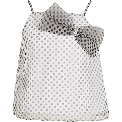 Girls white polka dot bow organza top