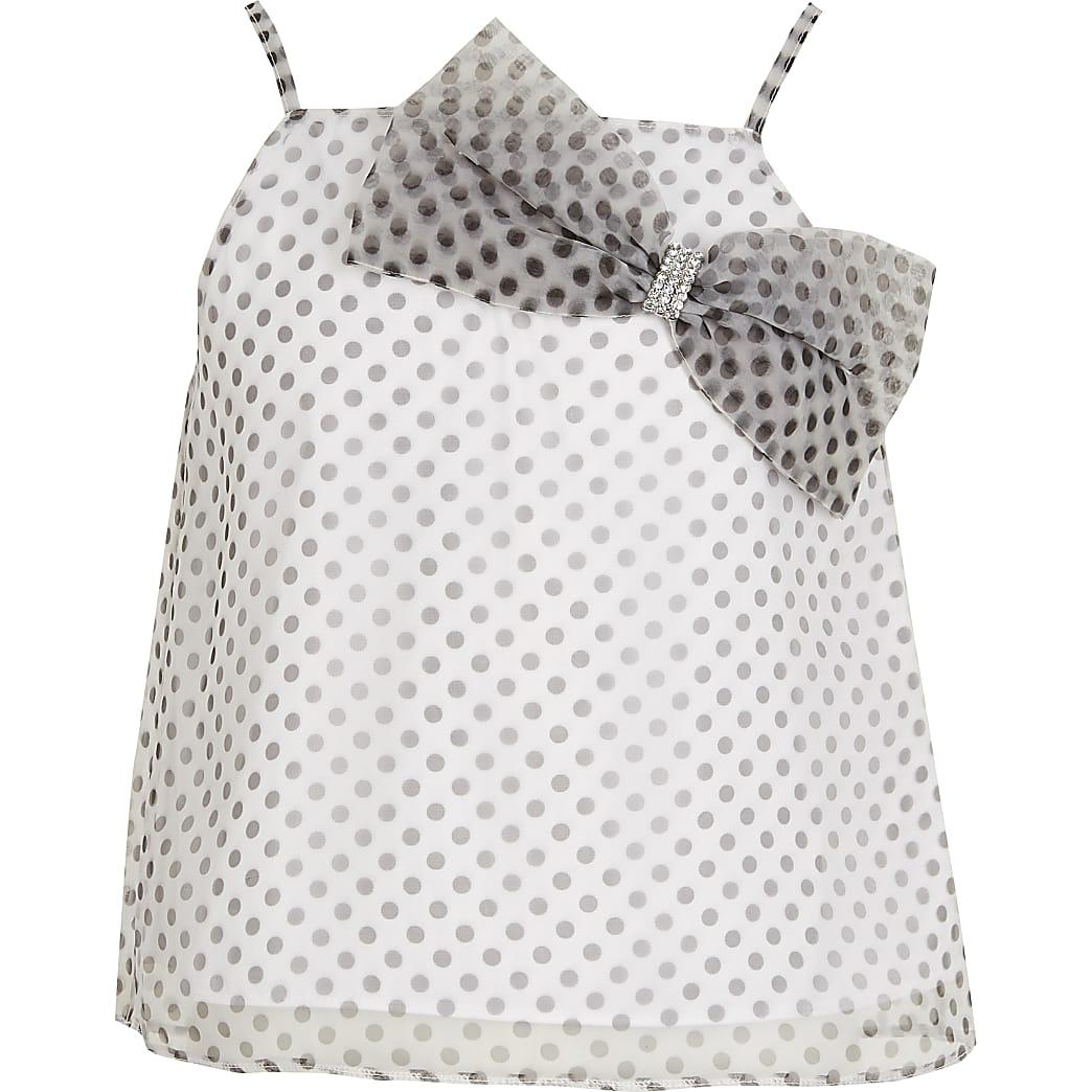 Girls white polka dot bow organza top