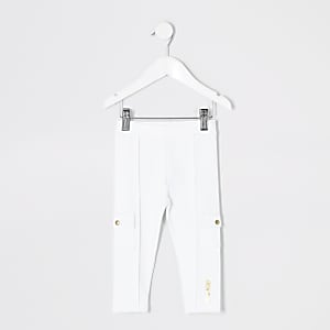 Legging utilitaire en maille point de Rome blanc Mini fille