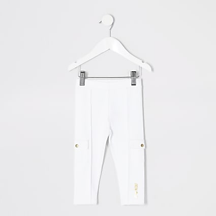 Mini girls white utility ponte leggings