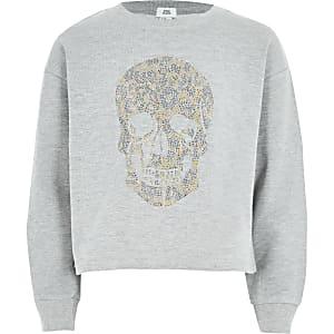 Graues Sweatshirt für Mädchen mit Totenkopfmotiv aus Nieten