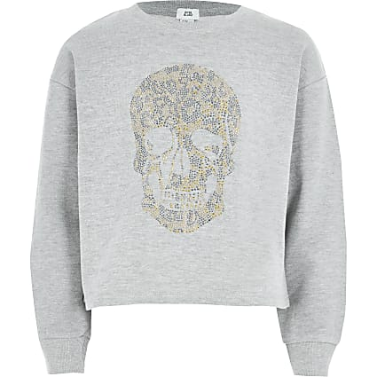 Girls grey skull studded sweatshirt