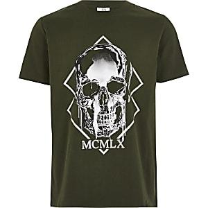 T-shirt kaki impriméMCMLX et tête de mort pour garçon