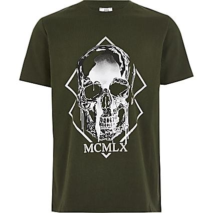 Boys khaki MCMLX skull printed T-shirt
