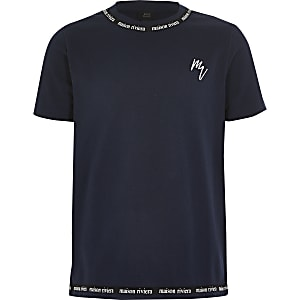 Maison Riviera – Marineblaues T-Shirt mit Tape für Jungen