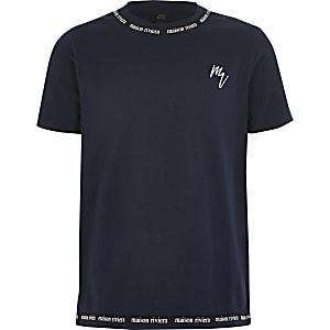 MaisonRiviera- Marineblauw T-shirt met bies voor jongens