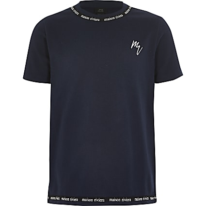 Boys navy Maison Riviera tape T-shirt