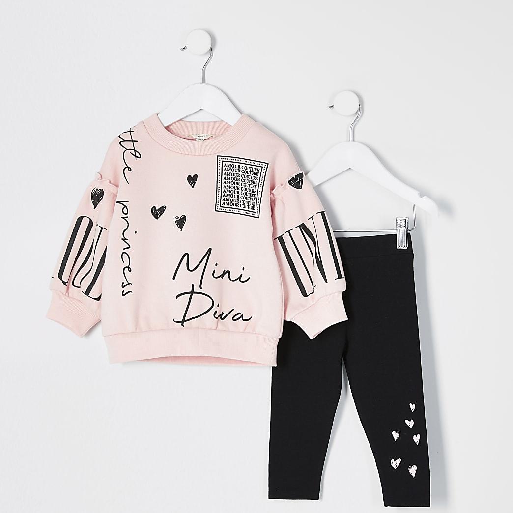 Mini girls pink printed sweatshirt outfit