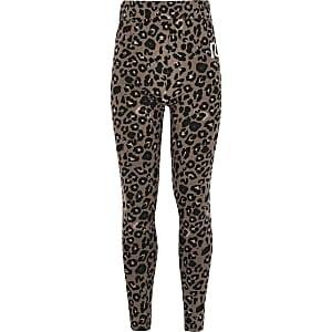Leggings RI beiges imprimé léopard pour fille