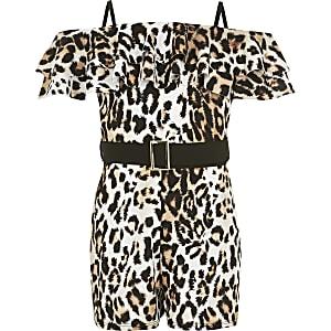 Combishort marron imprimé léopard àceinture pour fille