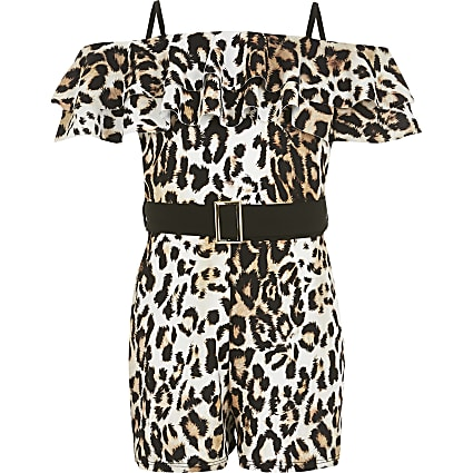 Girls brown leopard print belted playsuit