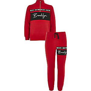 Rode sweater outfit met trechterhals voor jongens