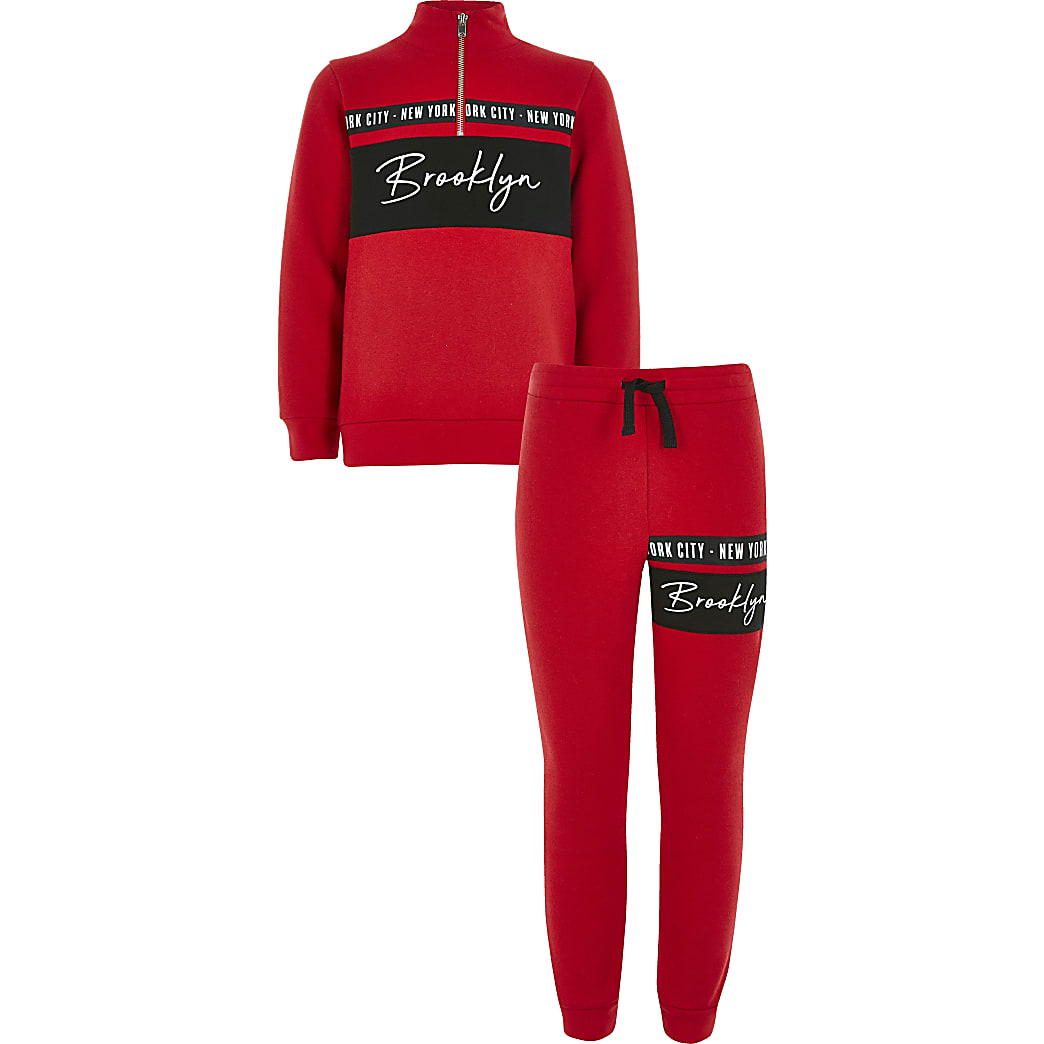 Boys red funnel neck sweatshirt outfit