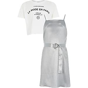 Zilverkleurge cami slipdress outfit voor meisjes