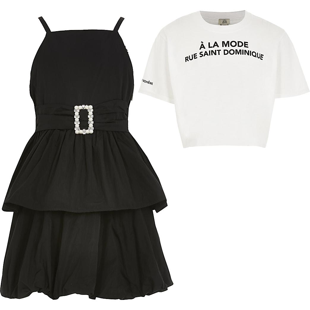 Girls black  2 in 1 belted prom dress