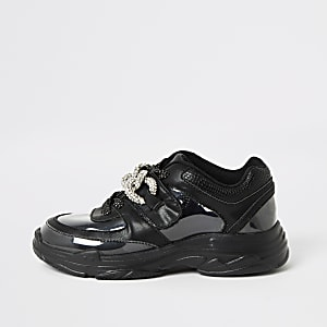 Zwarte stevige perspex sneakers met siersteentjes voor meisjes