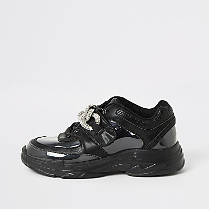 Girls black perspex diamante chunky trainers