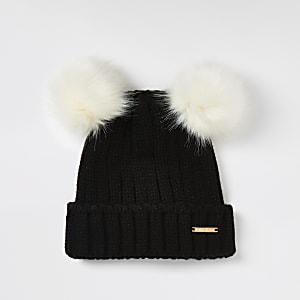 Zwarte beanie met dubbele pompon van imitatiebont voor meisjes