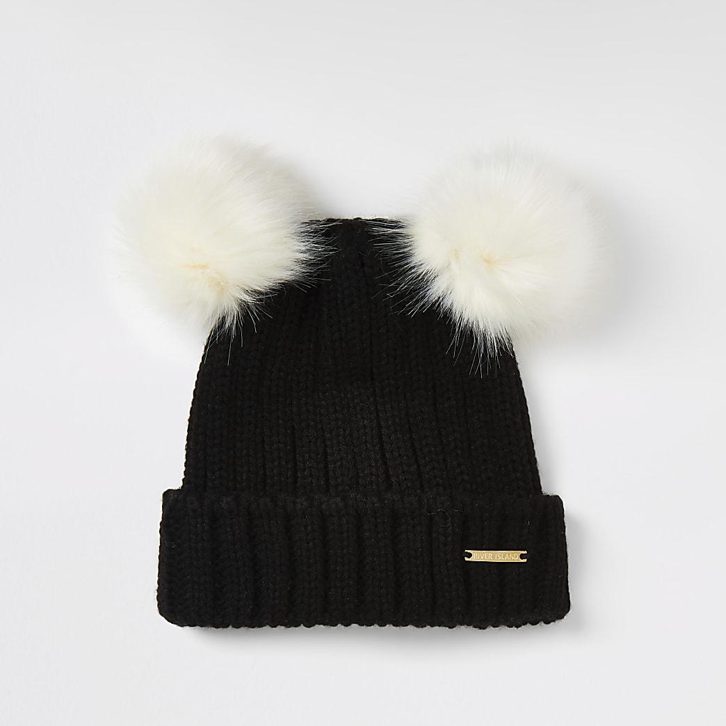 Girls black faux fur double pom pom beanie