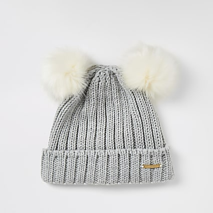 Girls grey faux fur double pom pom beanie hat