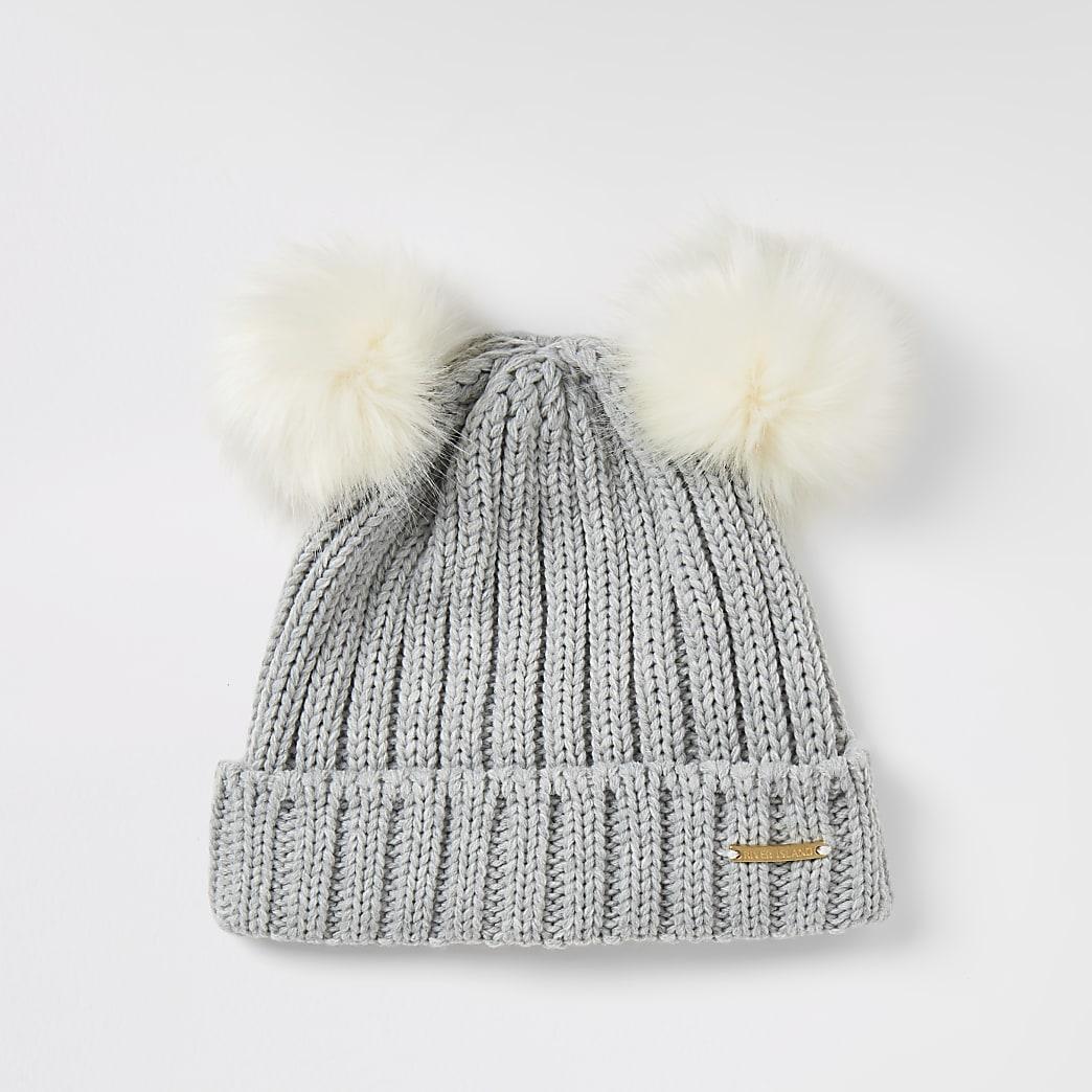 Girls grey faux fur double pom pom beanie hat