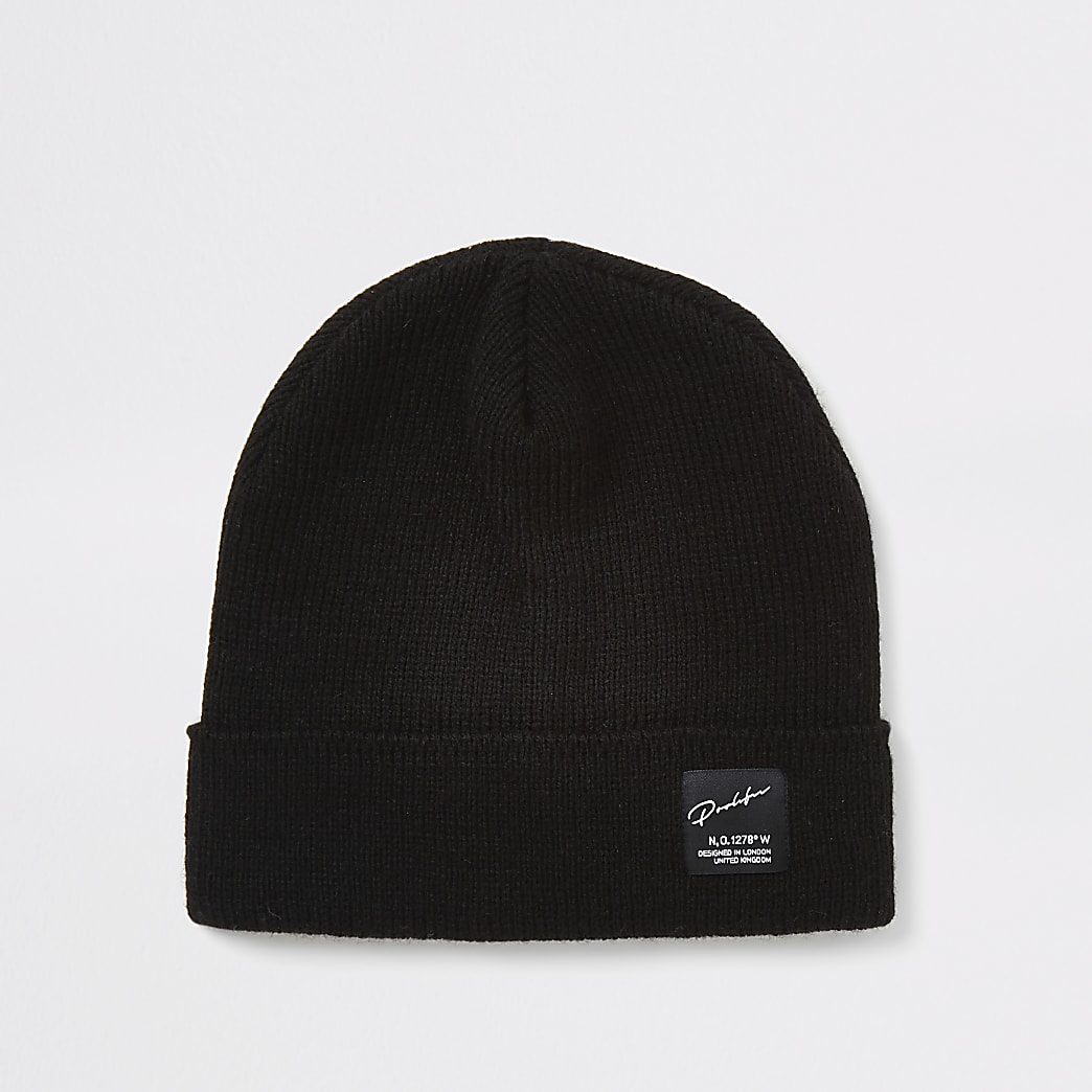 Boys black Prolific beanie hat