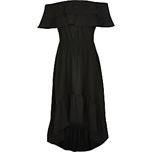 Girls black frill bardot maxi dress