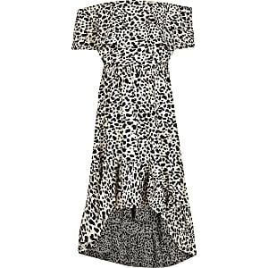 Girls ecru printed bardot frill maxi dress