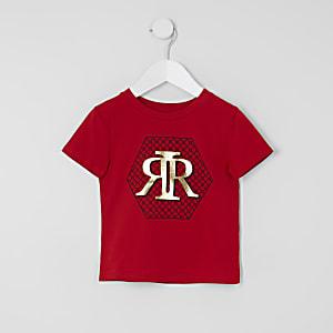Mini - Rood T-shirt met RI print voor jongens
