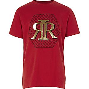 Rotes T-Shirt mit RI-Print für Jungen