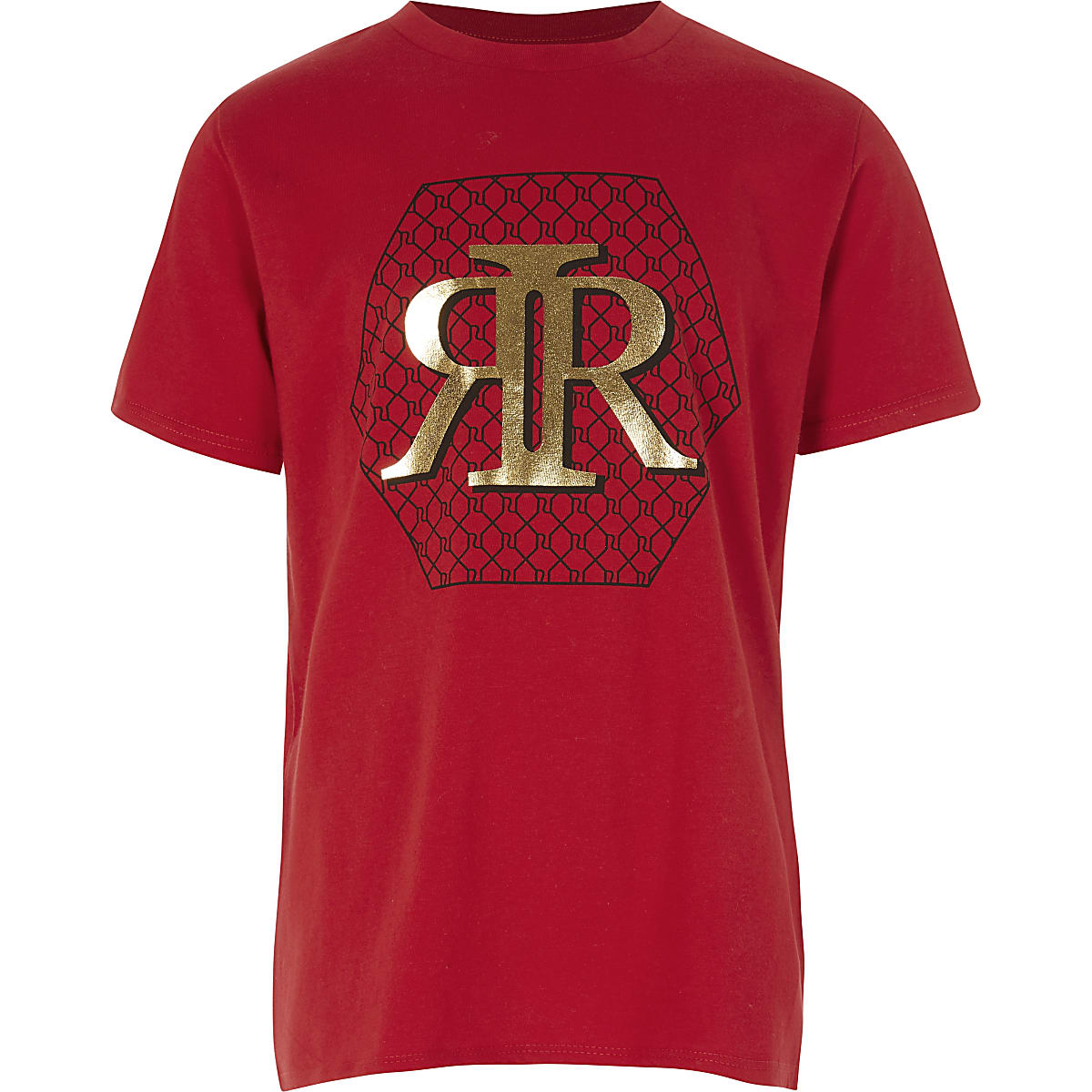 Boys red RI print T-shirt