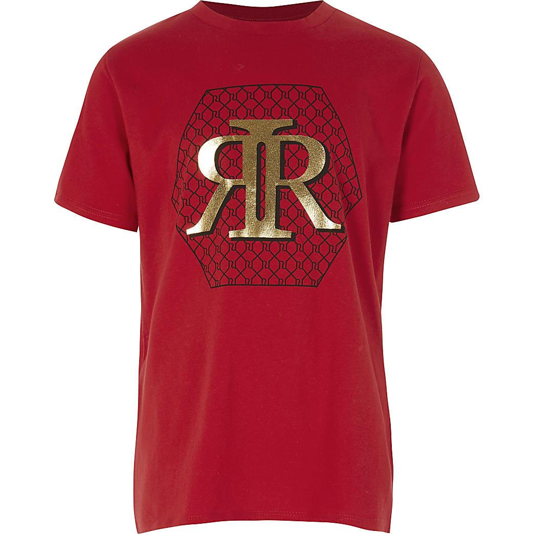 Rood T-shirt met RI print voor jongens
