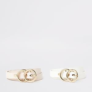 Mädchengürtel mit Doppelschnalle in Rosa und Weiß