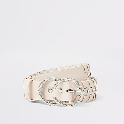 Girls pink diamante whip stitch belt