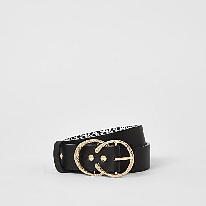 Girls black RI printed double buckle belt