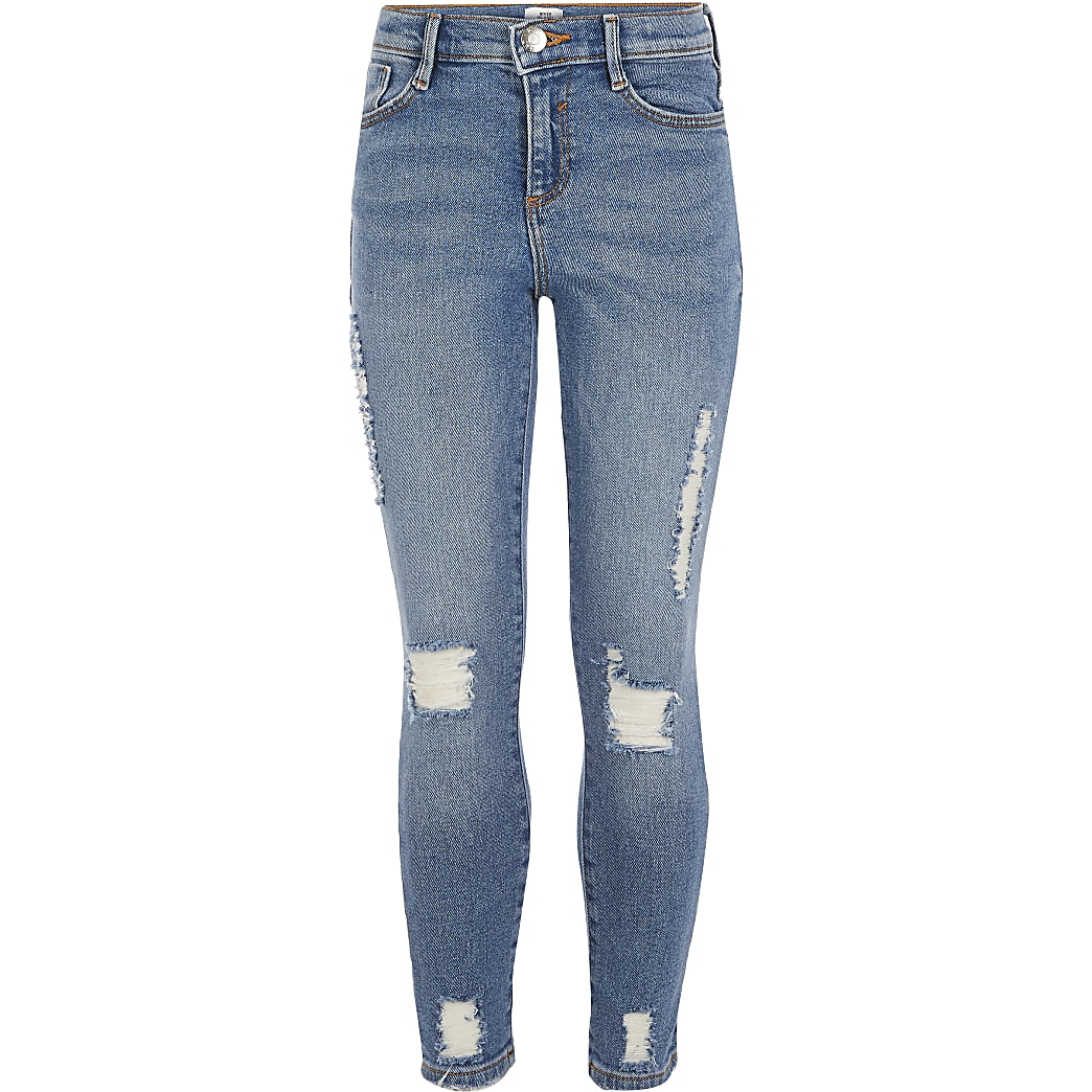 special section new arrivals designer fashion Girls mid blue ripped slim Amelie jeans | River Island