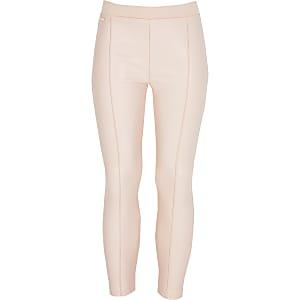 Roze imitatieleren leggings voor meisjes