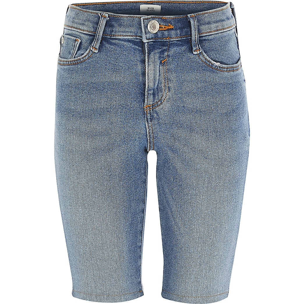 Girls blue Amelie denim cycling shorts