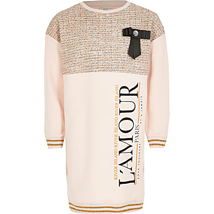 Girls pink 'L'amour' boucle bow sweat dress