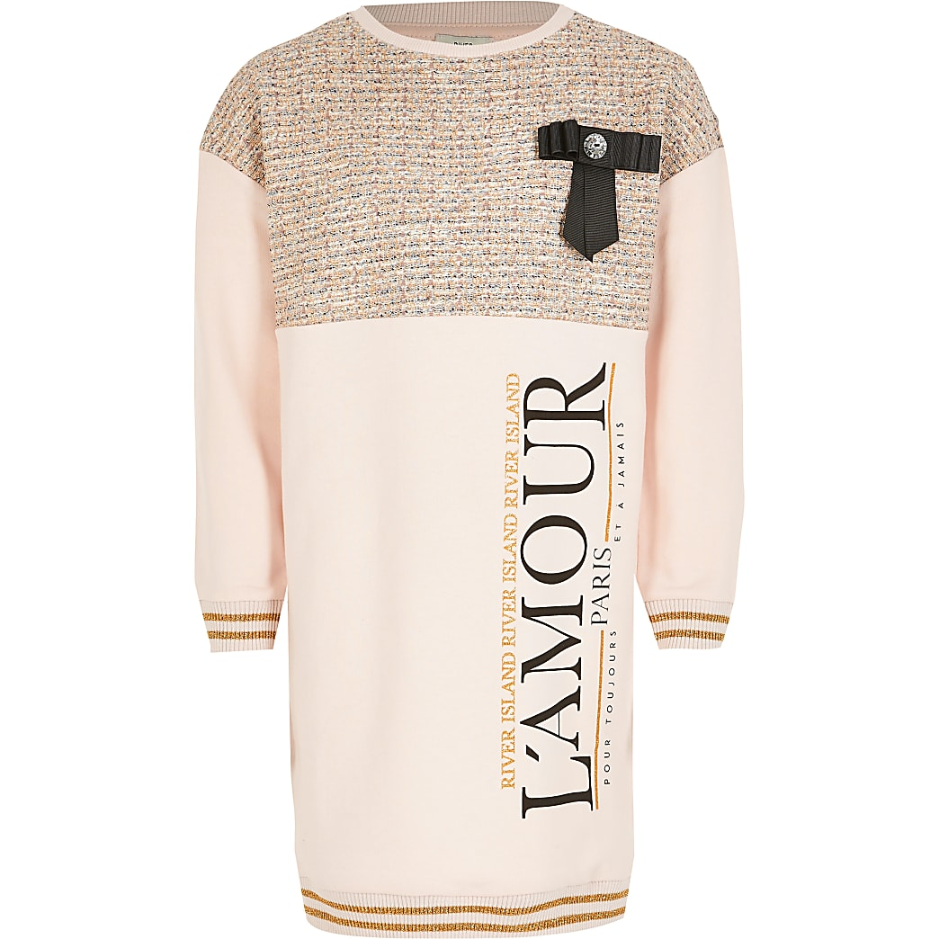 Girls pink 'L'amour' boucle bow sweat dress