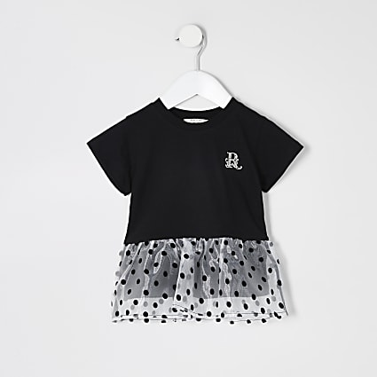Mini girls black organza peplum hem T-shirt
